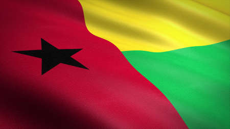 Flag of Guinea-Bissau. Realistic waving flag 3D render illustration with highly detailed fabric texture
