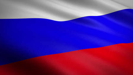 Flag of Russia. Realistic waving flag 3D render illustration with highly detailed fabric texture