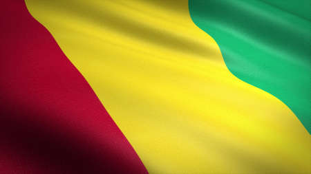 Flag of Guinea. Realistic waving flag 3D render illustration with highly detailed fabric texture. Standard-Bild