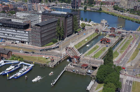 Water locks in Rotterdam in the Netherlands Editorial