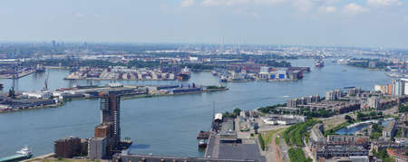 Skyline of Rotterdam harbor in the Netherlands Editorial