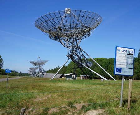 The Westerbork Synthesis Radio Telescope in the Netherlands WSRT consists of 14 dish-shaped antennas. Editorial