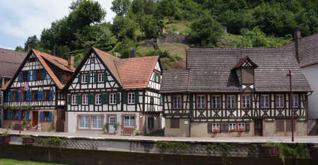 half timbered house: Traditional style houses in the village of Schiltach in the Schwarzwald region, Kinzigtal valley, Germany.