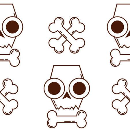 eye sockets: seamless texture with skulls. skull and Bones. halloween pattern