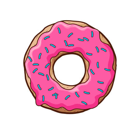 Vector illustration of pink donut.  pink frosting with blue dusting
