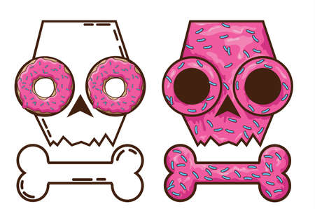 eye sockets: edible skull. candy and death. skull with donuts. Gingerbread skull. festive cakes for Halloween. pink skull