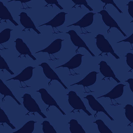 titmouse: seamless texture with silhouettes of birds.dark blue bird on a blue background.