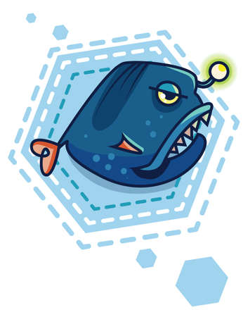 Blue fish on a geometric background. cartoon sea devil