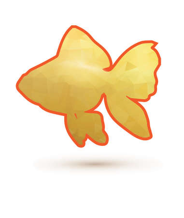 ichthyology: Polygonal gold fish on white background. goldfish with orange stroke Illustration