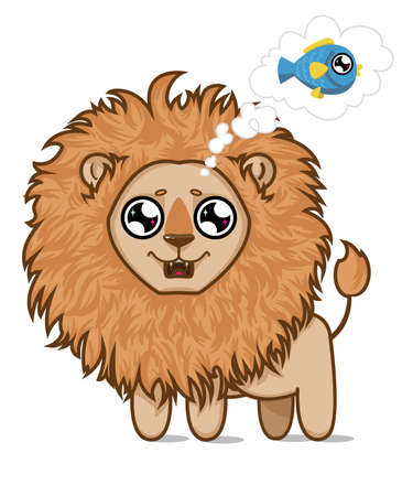 Cute hungry lion.Lion cub dreams of delicious fish.