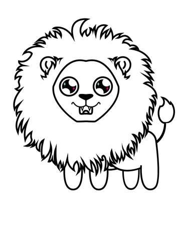 Cher petit lion. Lionceau à colorier. Lion affamé Banque d'images - 74645028