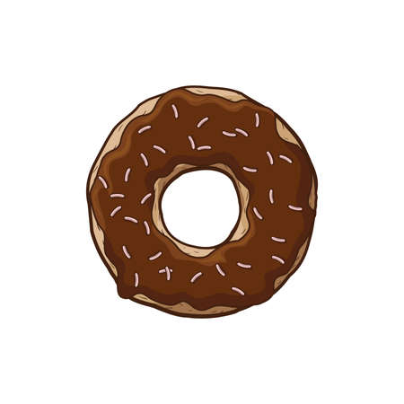 Donut with chocolate icing. Donut on a white background. A cartoon donut. Иллюстрация