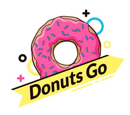 logo with donut. dynamic logo. yellow arrow with an inscription
