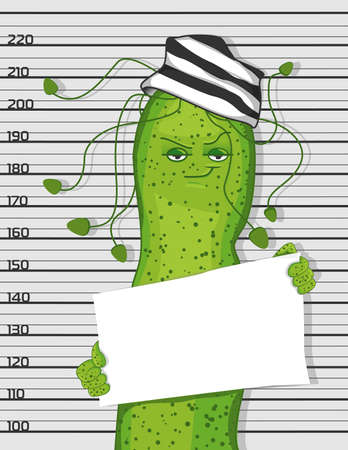 Bacterium Helicobacter pylori in the image of a criminal. Cartoon bacterium.