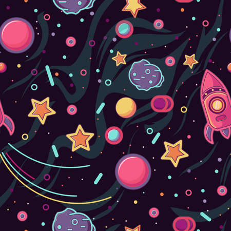 cartoon space. seamless pattern. rocket in space, comet and stars