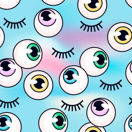 Muster mit Augäpfeln auf einem holographischen Hintergrund. Augen und Wimpern. Mode Hintergrund. Glitch-Stil