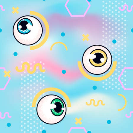 memphis pattern with eyeball. fashion seamless pattern holographic background. glitch style Çizim