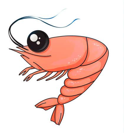 camarones de dibujos animados sobre un fondo blanco. apetitoso dibujo de camarones. carácter para el menú. dibujo de mariscos