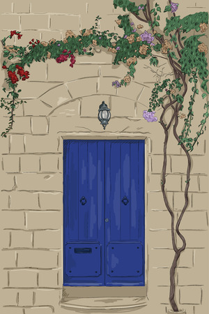doorstep: Hand drawn blue door with lamp. Stone wall with climbing tree. Home stone porch Illustration