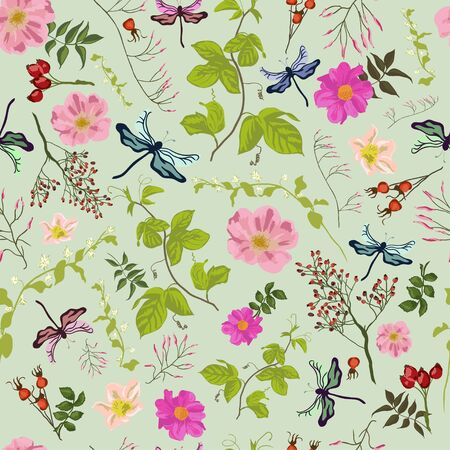 dog rose: Nature pattern with dragonfly and dog rose