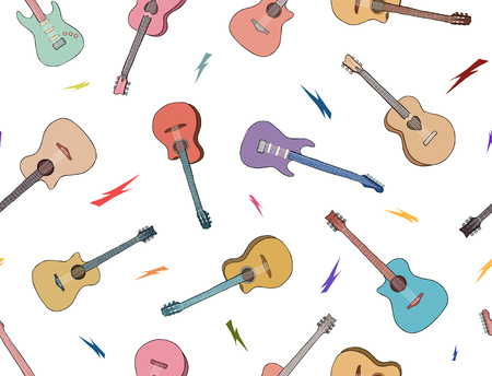 Hand drawn guitars pattern. Colored outlines guitar