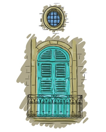 Hand getrokken aquamarijn balkon met een rooster. Vintage artistiek balkon met luiken