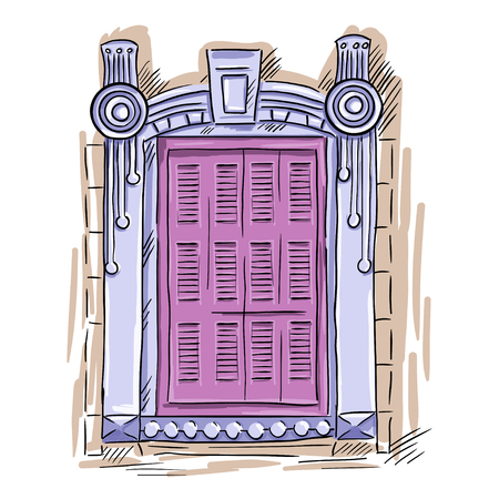 shutters: Hand drawn pink window. Vintage artistic architecture window with pink shutters Illustration