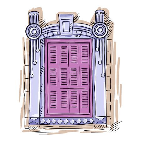 Hand getrokken roze venster. Vintage artistieke architectuur venster met roze luiken