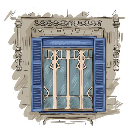 Hand getrokken blauwe venster. Vintage artistieke architectuur venster met blauwe luiken
