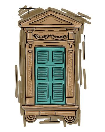 sill: Hand drawn aquamarine window. Vintage artistic architecture window with aquamarine shutters