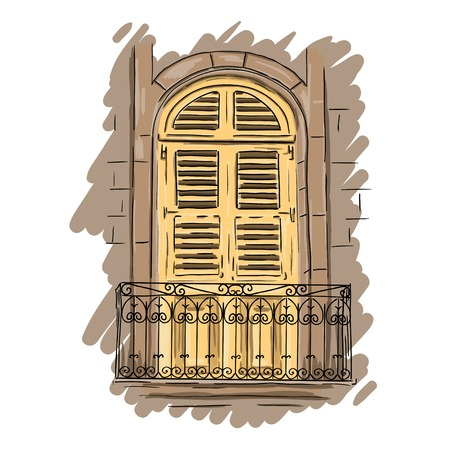shutters: Hand drawn yellow balcony with lattice. Vintage artistic balcony with shutters