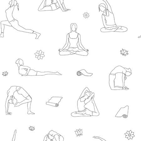 postures: Outline yoga poses pattern. Background yoga line illustration. Yoga postures isolated