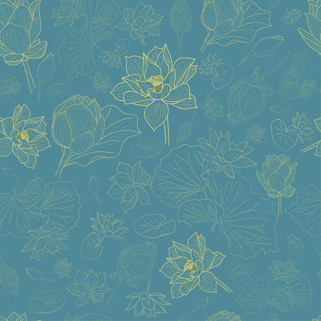 ligne d'or fleurs de lotus motif de fond sur EPS10 bleu Vecteurs