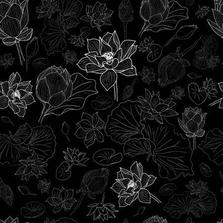 White line lotus flowers pattern background on black EPS10