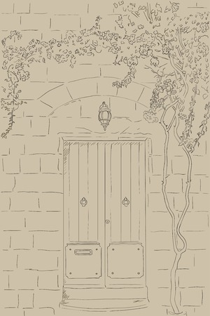 porch: Hand drawn line sketch door with lamp. Stone wall with climbing tree. Home stone porch. Outline door illustration Illustration