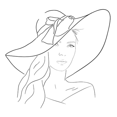 Young pretty woman line portrait. Hand drawn elegance girl in hat. Romantic lady outline sketch