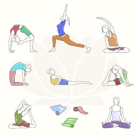 postures: Yoga colorful poses set. Line illustration. Woman postures EPS10