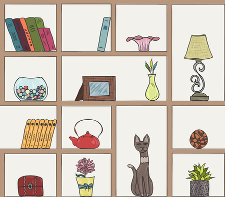 chest wall: Wooden shelves pattern background. Different colorful hand drawn items EPS10 Illustration