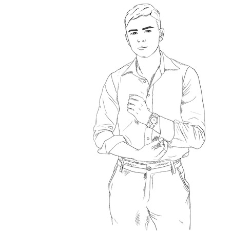 masculine: Young adult man  image, handsome boy with watch accessory, black white outline