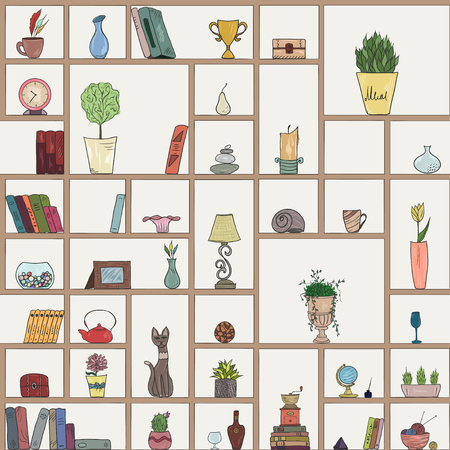 book shelves seamless pattern background, colorful objects collection Vector Illustration