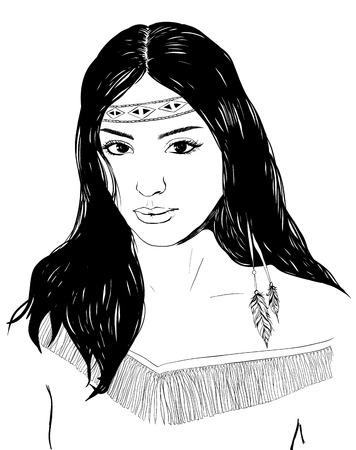 Jeune portrait américain de femme indienne, croquis dessiné à la main, cherokee fille aux cheveux noir, noir illustration blanc