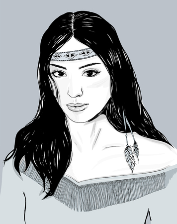 pocahontas: Young american indian woman portrait, hand drawn sketch, cherokee girl with black hair, black white, gray illustration