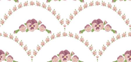 Seamless pattern beautiful purple pansies flowers, beige background, violet floral ornament Illustration