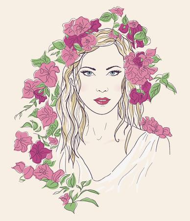 nude black woman: Young pretty woman portrait. Drawn elegant girl pink flowers. Romantic lady sketch Illustration