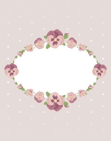 Belle pansies fiori carta, floreale rosa cartolina ornamento cornice, invito, congratulazioni, busta