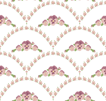 reiteration: Seamless pattern beautiful purple pansies flowers, beige background, violet floral ornament Illustration