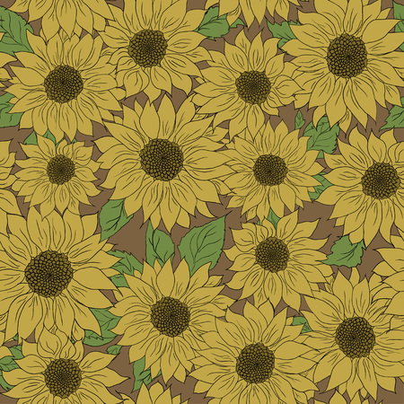 Hand drawn pattern of sunflowers background. Flower sunflower yellow and brown. Packaging, oil products from sunflower.