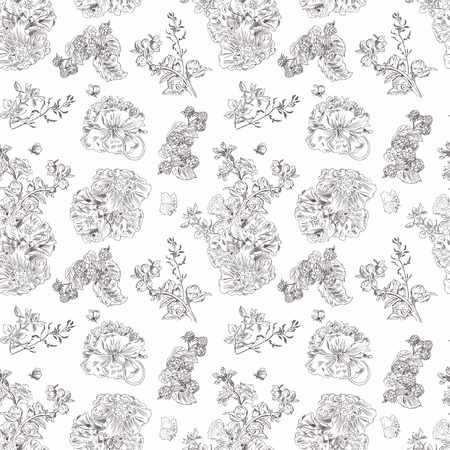 peony black: Seamless floral pattern with peony and raspberries, black line on white. Hand drawn illustration for fabric, wrapping, prints and other design in vintage style