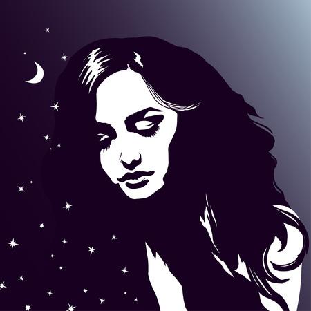 night moon: Sleeping girl portrait, beautiful dreaming woman, night sky, stars, drawn silhouette young lady romantic portrait
