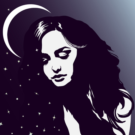 long hair model: Sleeping girl portrait, beautiful dreaming woman, night sky, moon and stars, drawn silhouette young lady romantic portrait